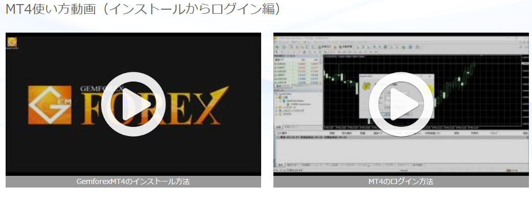GemforexのMT4使用方法説明動画