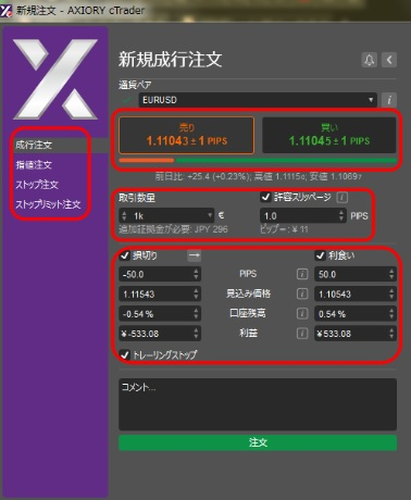 AXIORYのcTraderの成行注文、指値注文、逆指値注文の方法