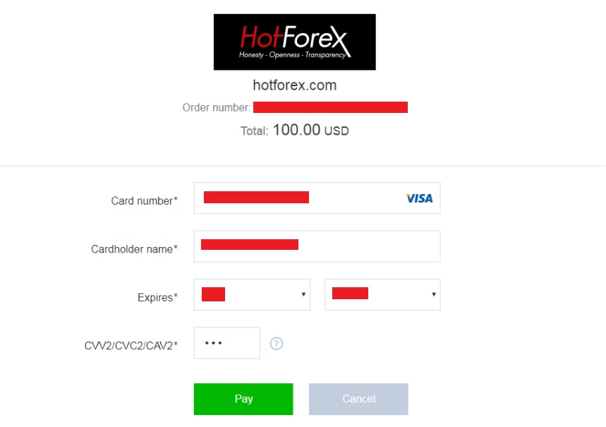 HotForexのクレジットカード入金画面2