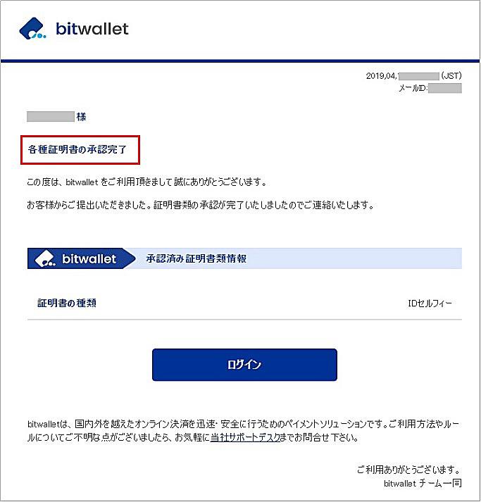 bitwallet口座開設後に送付されるメール1