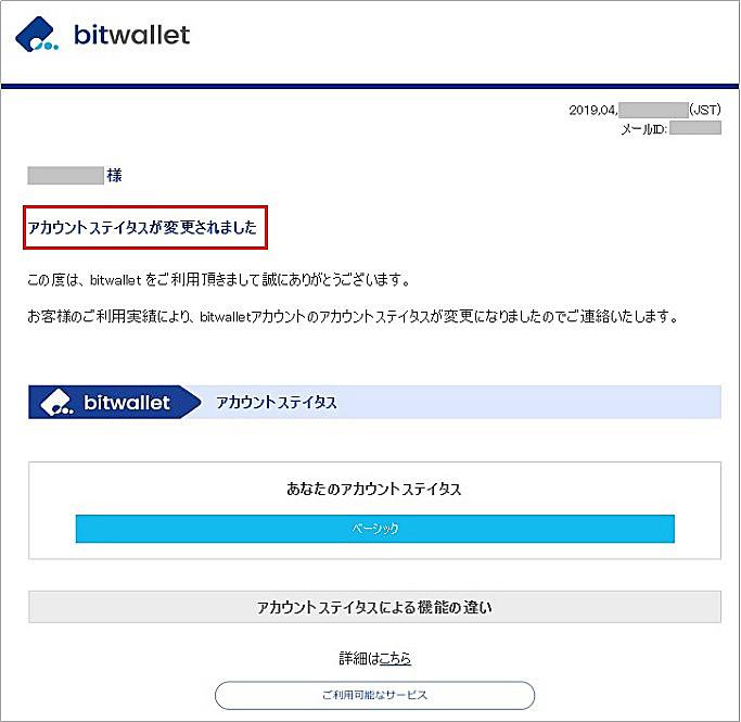 bitwallet口座開設後に送付されるメール2