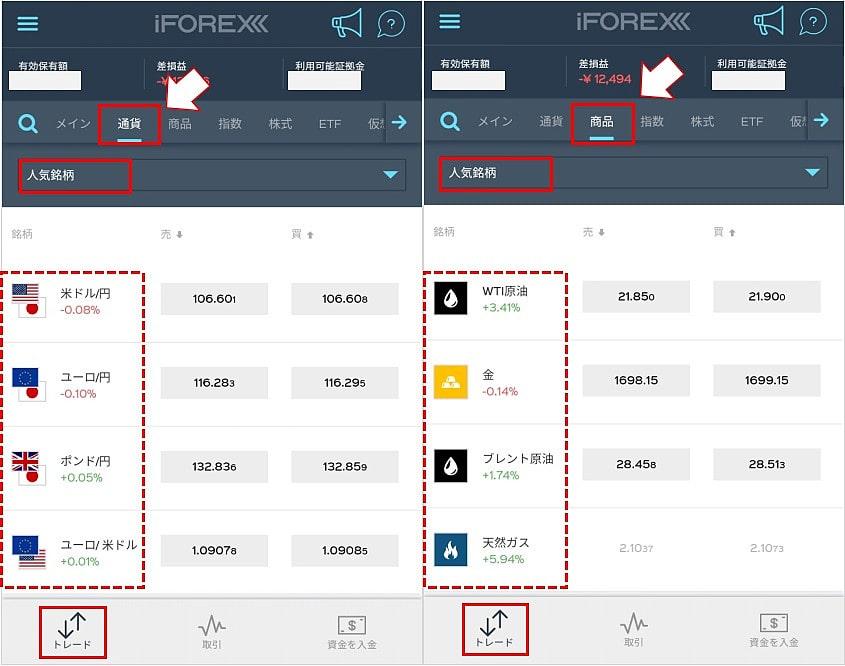 iForexのアプリの基本的な操作方法1