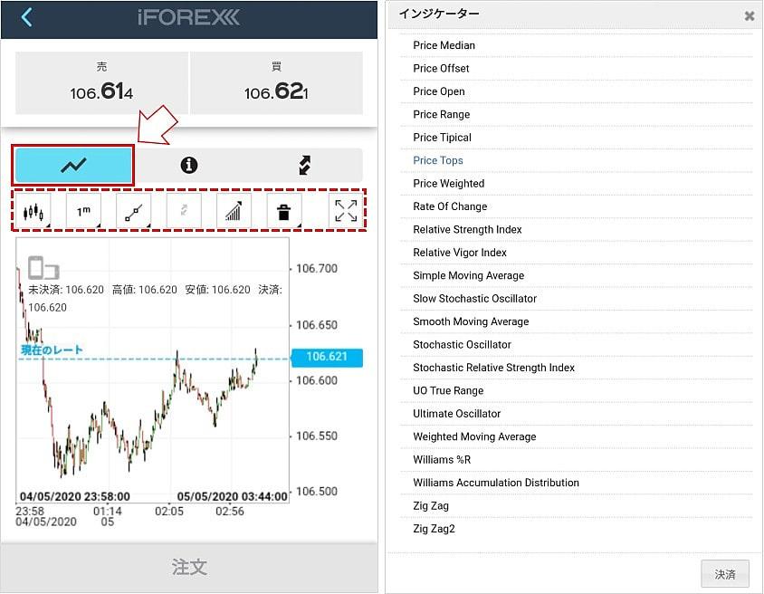 iForexのアプリの基本的な操作方法3