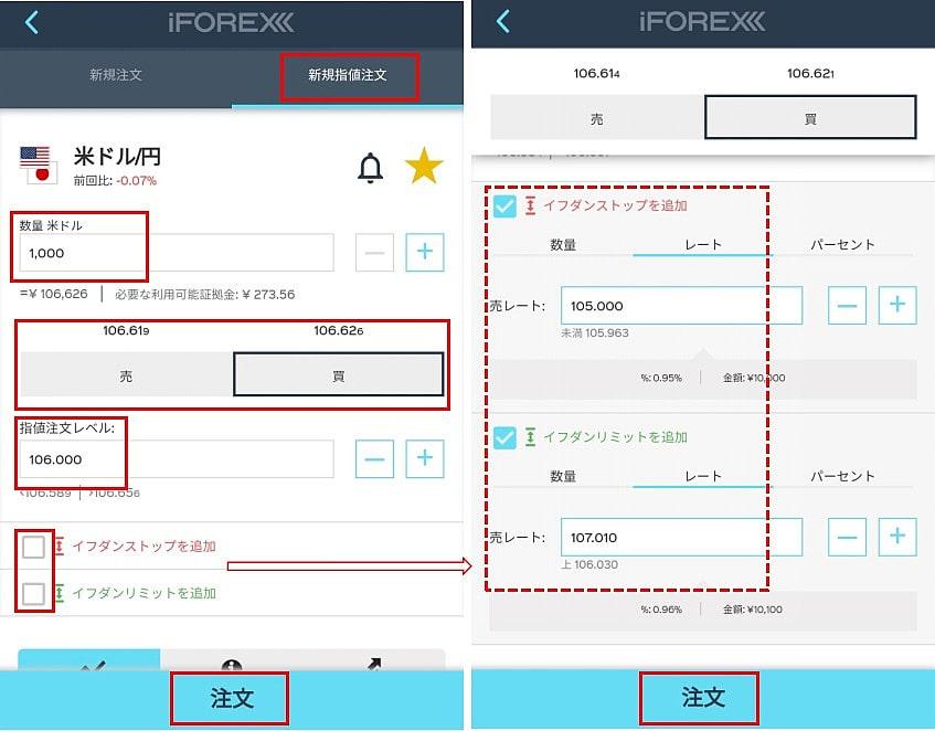 iForexのアプリの指値注文方法1