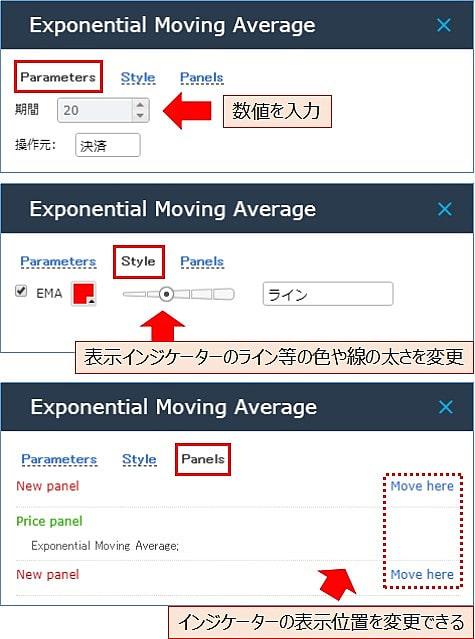 インジケーターの数値などの設定方法2
