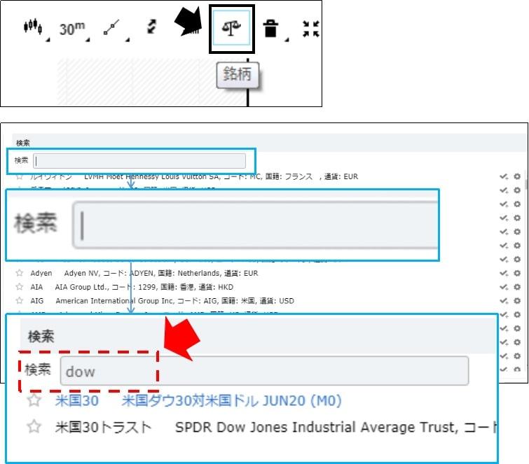 iForexのチャートに複数の銘柄を表示する1